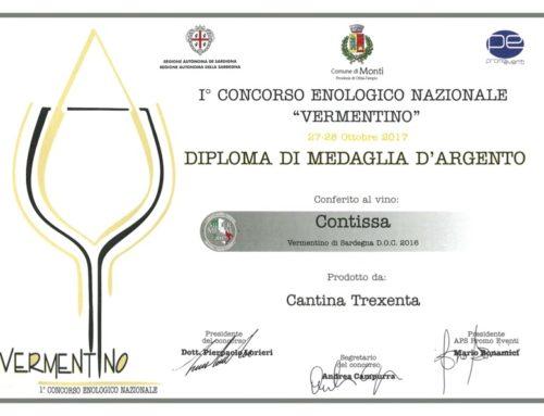 Diploma di medaglia di argento conferito al vino Contissa