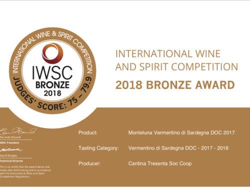 Monteluna Vermentino di Sardegna 2015 – 2018 bronze award